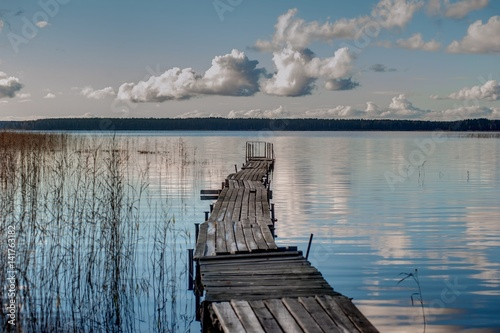 Wooden walkways on the lake Poster