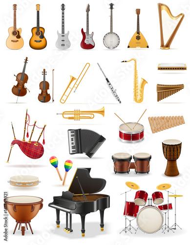 Fototapeta musical instruments set icons stock vector illustration