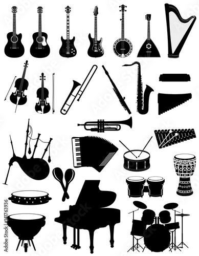 Fototapeta musical instruments set icons black silhouette outline stock vector illustration