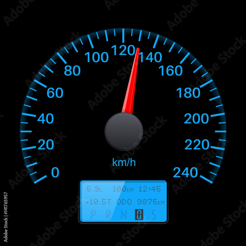 Black speedometer scale with blue back light. Speed gauge