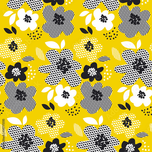 tropical summer concept floral seamless pattern. surface design with geometry abstract flowers for fabric, background, print, wrapping paper. - 141775510