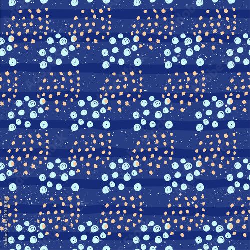 Stoffe zum Nähen Abstrakte Musterdesign Hintergrund. Hand gezeichneten Kreis isoliert auf blau