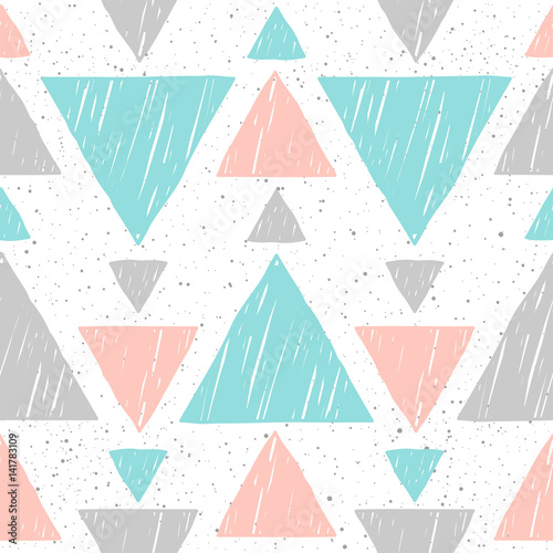 Doodle triangle seamless background. Abstract blue, grey and pink triangle - 141783109