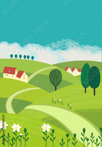 Aluminium Boerderij Country landscape. Freehand drawn cartoon outdoors style. Farm houses, winding road on meadows, green fields. Rural community. Sunny day, blue sky, hills. Vector village countryside scene background