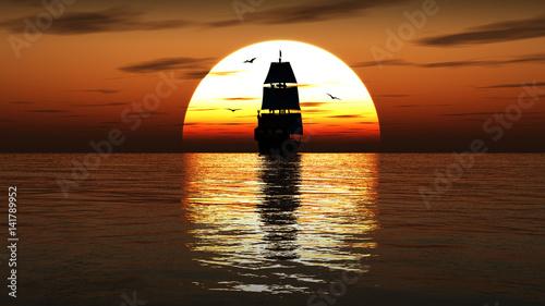 Ancient sailing ship at sunset. 3D render.