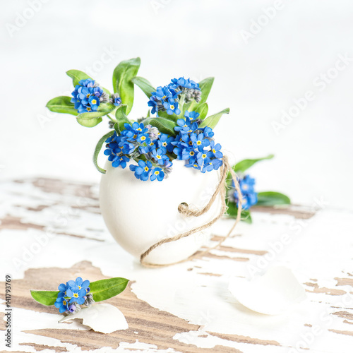 Easter egg flowers forget me not decoration