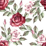 Seamless pattern with roses. Hand draw watercolor illustration - 141810144