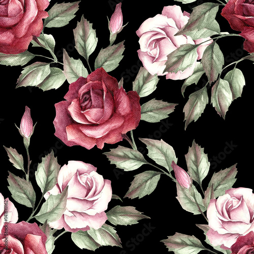 Seamless pattern with roses. Hand draw watercolor illustration - 141810162