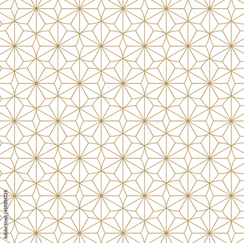 Fototapeta Japanese pattern vector. Gold geometric background and texture.