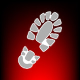 Fototapety Footprint boot sign. Postage stamp or old photo style on red-black gradient background.