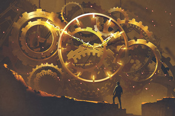 man standing in front of the big golden clockwork,illustration painting © grandfailure