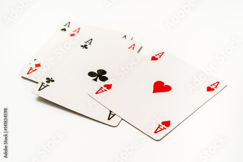 Four aces isolated on white background Poster