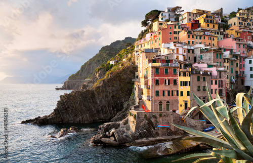 Poster Beautiful town of Riomaggiore - the first of the Five Lands of the Italian Natio