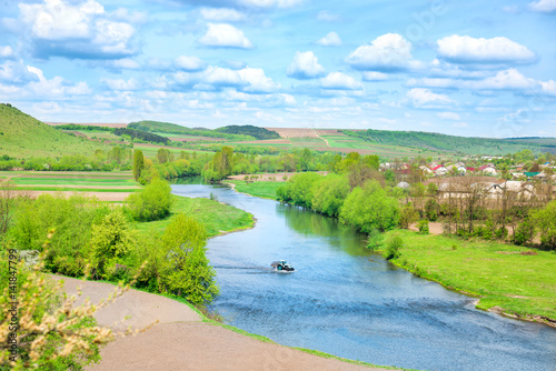 Foto op Plexiglas Lime groen Rural view to river banks