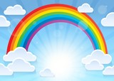 Rainbow and stylized clouds theme 1 - 141851128