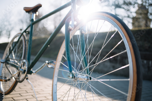 Staande foto Fiets Retro bicycle close up outdoor