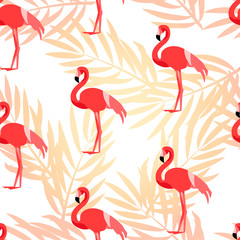 Tropical pattern with flamingo and palm branches. Ornament for textile and wrapping. Vector background.