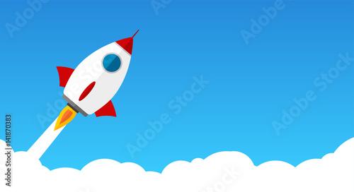 Fototapeta Raketenstart durch Wolken