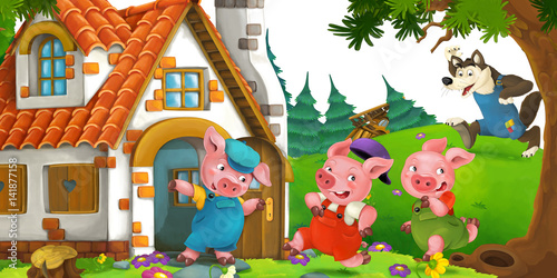 Fotobehang Boerderij cartoon scene with pigs escaping from wolf to a cottage