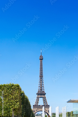 Poster PARIS, FRANCE - August 15, 2016 : Eiffel Tower, nickname La dame de fer, the iron lady, The tower has become the most prominent symbol of  Paris