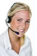 Frau mit Headset im Kundenservice - 141885329