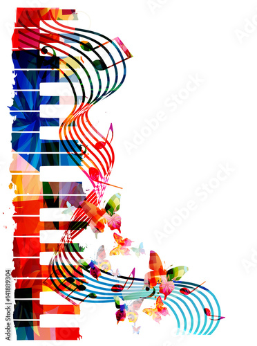 Colorful piano keyboard with music notes and butterflies isolated vector illustration. Music background for poster, brochure, banner, flyer, concert, music festival - 141889304