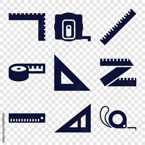 Set of 9 length filled icons