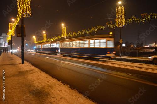 Tramwaj zimową nocą w Krakowie/A tram in winter night in Cracow, Lesser Poland, Poland