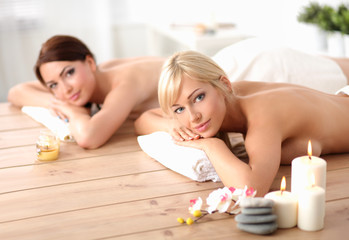 Two young beautiful women relaxing and enjoying at the spa cent © lenets_tan
