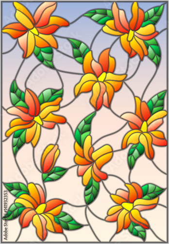 illustration-in-the-style-of-stained-glass-with-intertwined-lilies-and-leaves-on-a-sky-background