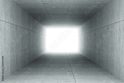 Fototapeta 3d rendering : illustration of Abstract square cement concrete tunnel interior,light at the end of tunnel, go to success concept, abstract tunnel background