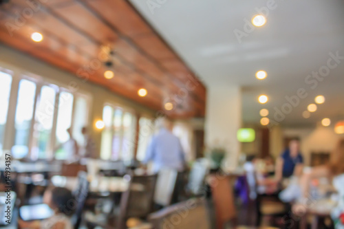 cafe restaurant blur background with bokeh