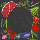 Banner of Raw food for cooking. Vegetables and ingredients on a dark background in a rustic style. Top view