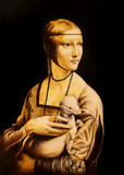 Unfinised reproduction in process of painting Lady with an Ermine by Leonardo da Vinci. Graphic effect.