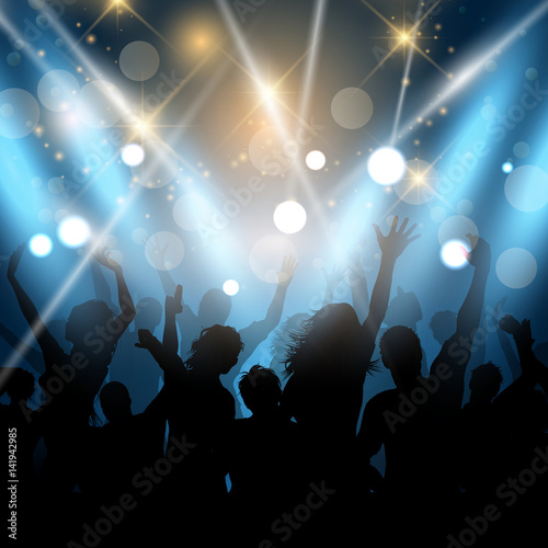 Party people on a spotlights background