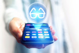 Glasses view icon over device - Medical concept