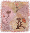 Colorfu weavel carpet with floral applique and fringe in pastel colors