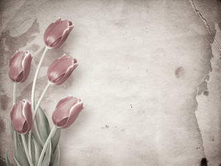 Bouquet of red tulips with green leaves on abstract paper background