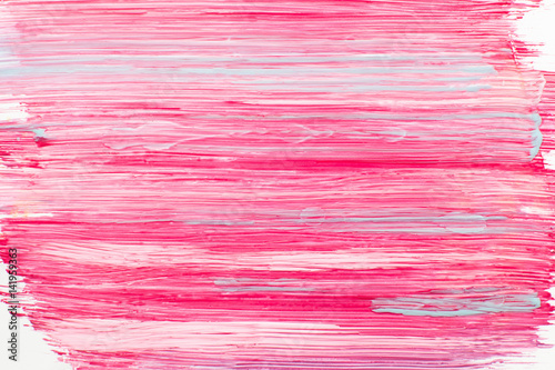 Stains of pink nail polish closeup. Bright violet background of cosmetic painting. Abstract art, beauty, makeup, fashion concept - 141959363