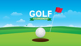 Vector of golf tournament with green golf field background.