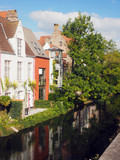 Bruges Belgium historic houses on canal Europe