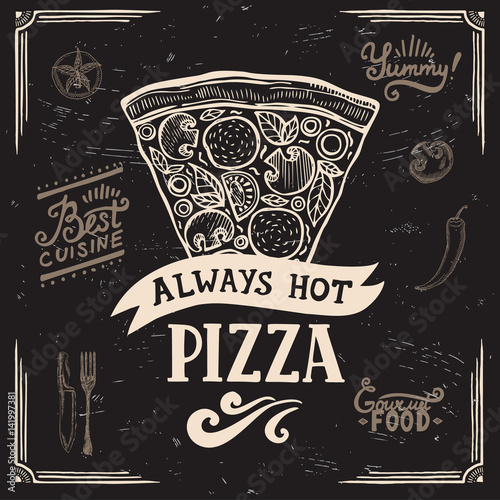 Pizza poster for restaurant and cafe. Poster