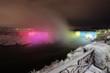 Night photography of Niagara Falls in winter