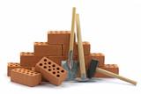 Baugewerbe, Ziegelsteine, Hausbau