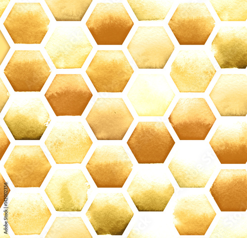 Honey bee honeycomb pattern on white background. Watercolor seamless pattern - 142002356