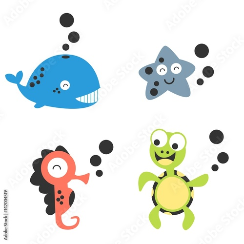 Cartoon animal under sea sets, whale, starfish, seahorses and turtle animal characters. Kids collection vector illustration.