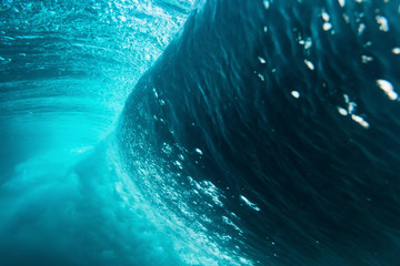 Wave underwater. Barrel
