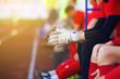 Hands goalkeeper. Gloves closeup