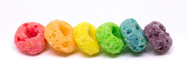 Banner of Colorful Cereal Arranged in Rainbow Color Order