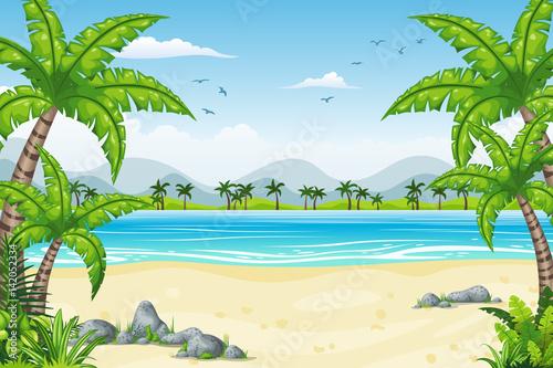tropikalny-krajobraz,-palmy,-ocean,-plakat